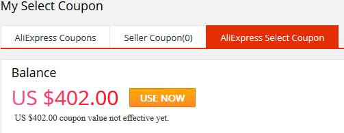 aliexpress select coupons